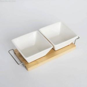Komplettset Keramik Bambus Desserts Schüssel Tablett Snack Teller Obstschale Teller Geschirr Frühstück Tablett Küche Zuhause Versorgung