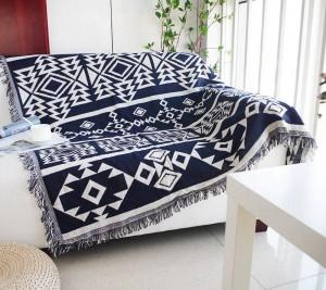 Geometrie Decke Sofa dekorativ blau Böhmen Schonbezug Cobertor auf Sofa / Betten / Flugzeug Reisen rutschfeste Nähte Decken