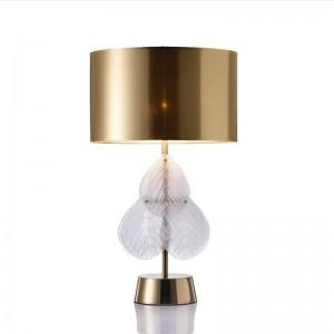 Glas verlässt postmoderne Tischlampe Schlafzimmer Nachttischlampe kreative Lampe Designer Wohnzimmer Studie Europa Gold Tuch Kunst Schatten Lampe