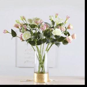 Glasvase Gold Transparente gerade Vase Hauptdekoration Goldfolie Blumenschmuck Rose Lily