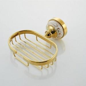 Gold Messing Seifenschale Halter Abtropffläche wasserdicht Skid langlebig Bad Dusche WC Seifenhalter Seifenschale Wandmontage 9087K