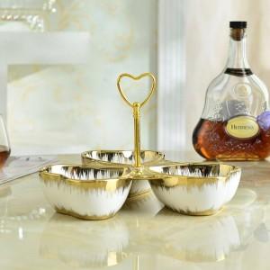 Gold Keramik Obstteller Europäische Dessert Trockenfrüchte Teller Snack Teller Candy Dish Keramik Obstteller