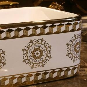 Gold Glasmuster Keramik Waschbecken Waschbecken Aufsatzwaschbecken Waschbecken Schüssel Eitelkeit rechteckig
