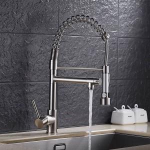 Goldene Europäische moderne Küchenarmatur multifunktionale Warm- und Kaltwassertank American Spring Wasserhahn Gemüseschüssel Wasserhahn LAD-1
