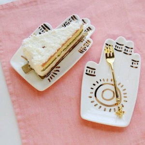 Goldene Palmen-Nachtisch-Snack-Teller-Keramik-Schmuck-Teller-Dekoration