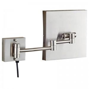 3x Kosmetikspiegel mit Eitelkeitsbeleuchtung und LED-Beleuchtung und Vergrößerung, quadratische Rasierwandspiegel für Badezimmer, Nickel