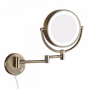 Bad Wand Kosmetikspiegel mit LED-Leuchten und 10-facher Vergrößerung Dual Extend Arm Folding Rasierspiegel Dual Sided Antique