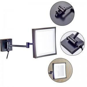 Hotel 360 Schwenkbarer Kosmetikspiegel mit 50 LED-Leuchten und quadratischem 3-fach Vergrößerungsglasspiegel mit doppelten Klappspiegelarmen