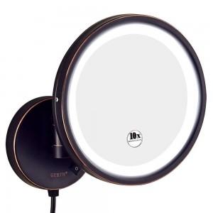 Hotel-Badezimmer 10X Vergrößerung Vanity Lighted Makeup Mirror Shaving, Wandhalterung Runde Spiegel mit 7X / 5X / 3x Vergrößerung