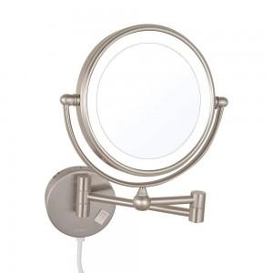 LED beleuchtet Vergrößerung Make-up Spiegel doppelseitig drehbare ausziehbare Klapp-Rasierspiegel mit LED-Leuchten Nickel