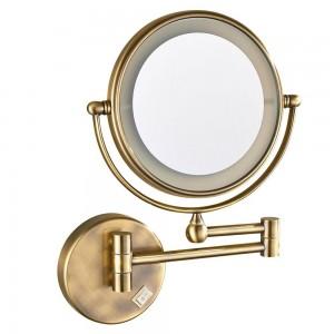 LED beleuchteter Kosmetikspiegel mit 7-facher Vergrößerung, antike Bronze poliert, elektrischer Stecker, 360-Grad-Drehspiegel