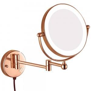 Beleuchtete Vergrößerung Wandmontage Bad Kosmetikspiegel Schwenkbare ausziehbare Spiegel mit elektrischem Stecker, Vergrößerung 10x 7x