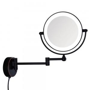 Öl eingeriebene Bronze LED beleuchtete Wandmontage Bad Kosmetikspiegel mit 7-facher Vergrößerung elektrischer Stecker, erweiterte Arme