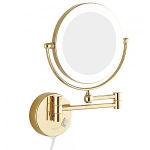 """Wandmontage Bad Kosmetikspiegel mit LED-Leuchten und 7x Vergrößerungs-Rasierspiegel Doppelseitig Extended Rotated Gold 8 """""""