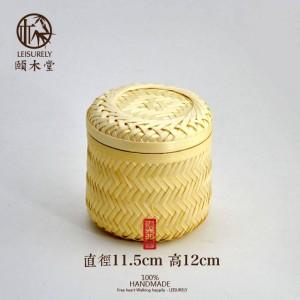 Handgemachte Bambus Bambus Lagertank Tee Lagertank Hochwertige Trockenfrüchte Snack Bambuskorb Aufbewahrungsbox Aufbewahrungskappen Glas