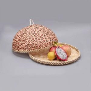 Handgemachtes Bambusnahrungsmittelfrucht-Weidenrattan-Stroh-Korb-Brot mit Deckel-runder Platten-Küchen-Speicher-Brot-Organisator-natürlicher Gesundheit