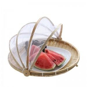 Handgemachte Bambus Woven Bug Proof Weidenkorb Staubdicht Picknick Obsttablett Lebensmittel Brot Gerichte Abdeckung Mit Gaze Panier Korbweide