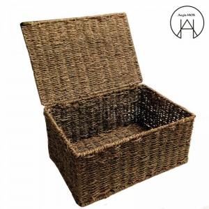 Handgefertigter Rattan-Aufbewahrungskorb mit Deckel Bambuswebveredelung Aufbewahrungsboxen Kleidungsaufbewahrungsbox nicht verformt Feuchtigkeitsbeständig
