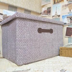 Handmade Stroh zusammenklappbaren Aufbewahrungsbox großen Tuch bedeckt Aufbewahrungsbox Schublade Sortieren von Kleidung Spielzeug Ablagekorb 51cm * 48cm * 31cm