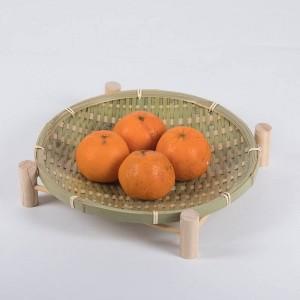 Handgemachte gewebte Bambus Obstkorb Wicker Stroh Essen Brot Organizer Küche Lagerung dekorative Geschenk Schälchen Runde Platte