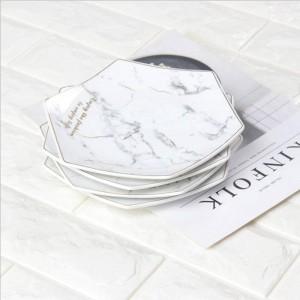 Hexagon weißer Marmor-Art-Keramik-Speicher-Platte mit goldenem Rand-Chic-Luxusdessert-Frucht-Schmuck-Speicher-Organisator dekorativ