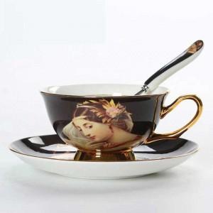 Hochwertige Knochenporzellan Kaffeetassen Vintage Keramik Tassen Aufglasur Advanced Teetassen Und Untertassen Sets Luxusgeschenke