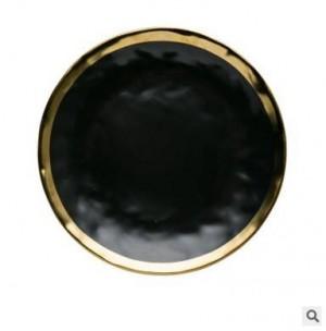 Hochwertige Black Gold Series Matte Keramik Vergoldete Seite Western Steak Dish Kreative Teller Obst Flacher Teller