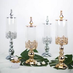 Hochwertige europäische Metallbasis Bonbonglas Hochzeit Dessert Tischdekoration Glasdosen Snack Keks Lagertank