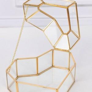 Hochwertige herzförmige Blume Haus Glas Schmuck Aufbewahrungsbox Handwerk Geschenk Dekoration Make-up Veranstalter
