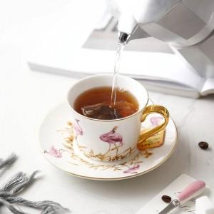 Hochwertige Bone Pink Bird Kaffeetasse und Untertasse mit Goldlöffel Große Kapazität Nachmittagstee Schwarzteetasse