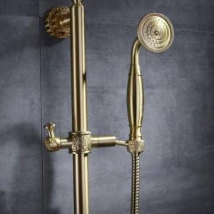 Hochwertige Mode Bad Schwarz Dusche Mischbatterie mit Brausestange Badewanne Mischbatterie Set heiß und kalt Kupfer Farbe Dusche XT376