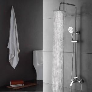 Hochwertige ultradünne Top Dusche Set Wasserhahn Wandmontage Chrom Einhand Keramik Messing kalt und warm Mischbatterie XT320
