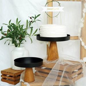 Hoher Stand Holz Kuchen Platte Kreative Lebensmittel Tabletts Multi-Use Eco Naural Holz Desserts / Obst Tablett Hochzeit Home Decor
