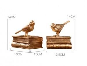 Dekoration Zubehör moderne Buchstütze Buch Stop Fairy Garden Vintage Home Decor Gold Vogel Miniatur Garten Paris