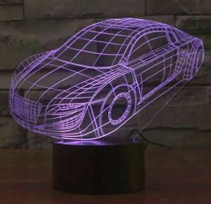 Buntes Auto 3D des heißen Verkaufs führte Lampe, usb-Notenschalter Kindnachtlichtbeleuchtungs-Schlafzimmerlampe Acryl gravieren Sichtnachtlicht 3D