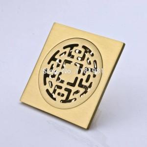Heißer Verkauf 10 * 10cm künstlerischer Messingbadezimmer-Quadrat-Duschboden-Abfluss FD-7