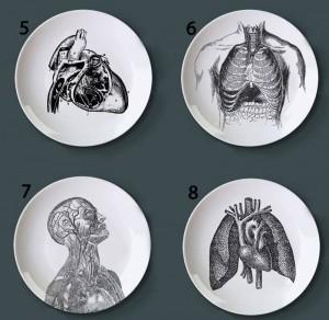 Menschliche Körperstruktur Dekorative Platte Künstlerische Keramikschale Handwerk Weiß und Schwarz Malplatte für Hauptdekoration Studie Gericht