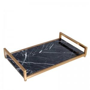 Hochwertiges schwarzes Marmor-Tablett von InsFashion mit Messinggriff für Kosmetik- und Hautpflege-Aufbewahrungstablett im königlichen Stil