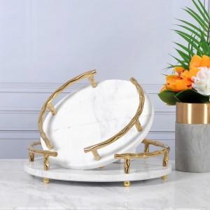 Hochwertiges weißes Serviertablett aus Naturmarmor von InsFashion mit goldenem Griff für Reiche und 5-Sterne-Hoteldekor