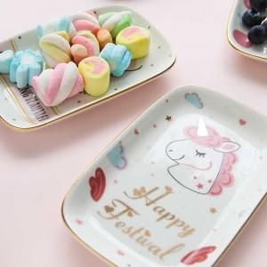 InsFashion schöne rechteckige Keramik-Schmuck- und Snackschale mit Einhornmuster für Kindergeschenksets