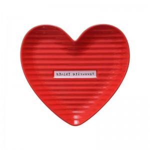 InsFashion reizendes rotes und rosa Herz formte keramischen Schmuckteller für Muttertagsgeschenksätze