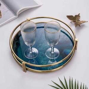 InsFashion Luxus und heißes Glas Tablett mit 3D-Druck Achatmuster und Goldrahmen für nordischen Stil Wohnkultur