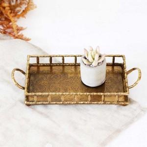 InsFashion Luxus Rechteck handgemachte Messing Tablett mit Griffen und Muster für arabischen Stil Wohnkultur