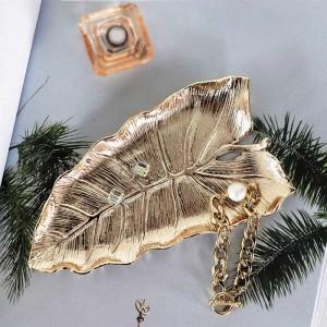 InsFashion hübsche und gute Qualität blattförmige handgemachte Messing Schmuckschale für nordischen Stil Wohnkultur und Mädchen Geschenk
