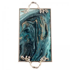 InsFashion super wunderschöne rechteckige Marmor-Muster Tablett mit Griff für reichen europäischen Stil Fünf-Sterne-Hotel