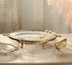 InsFashion runde Schmuckschale aus klarem Glas mit Goldrand und Füßen für die Inneneinrichtung im königlichen Vintage-Stil