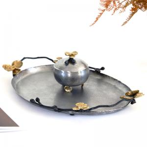 InsFashion-Weinlese tun altes ovales kupfernes Serviertablett für Restaurantdekor der arabischen königlichen Art