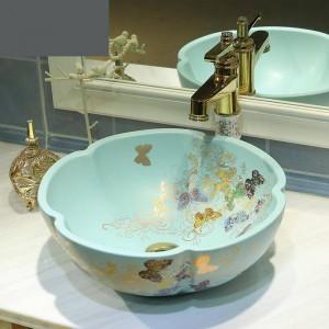 Keramik Badezimmer Waschbecken Art Basin Waschbecken Matte Light Green Golden Butterfly Muster Waschbecken Blume