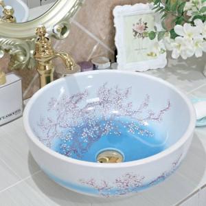 Keramik Sanitärkunst Aufsatzbecken Waschbecken Lavabo Waschbecken Keramikwaschbecken Pflaumenblüte