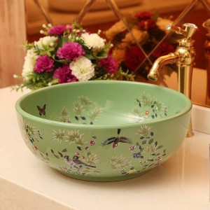 Keramikwaschbecken Artistic Basin Washbasin WC-Becken Flower And Bird Waschbecken